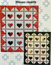 Quilt  Pattern Animas Publishing WOVEN HEARTS QUILT 4 Sizes Unique Colorful Fun