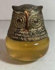 Vintage Avon Gold Gilded Owl Cologne Gelee Bottle Glass Roses Roses 90% Full