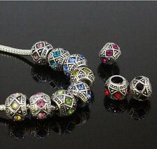 Tibetan Silver Cylinder Crystal Spacer Big Hole Charm Beads