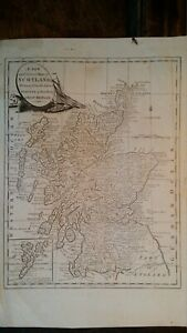 1770's ORIGINAL ANTIQUE COPPER PLATE MAP NEW & CORRECT MAP OF SCOTLAND