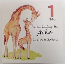 Personalised Giraffe Birthday Card Son Grandson Nephew 1st 2nd 3rd 4th 5th 6th