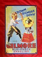 """OLD 1960'S GILMORE """"BLU-GREEN GASOLINE"""" PORCELAIN ENAMEL GAS PUMP SIGN 12"""" X 8"""""""