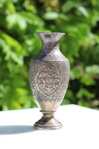 Antique Persian Isfahan silver 84 vase handmade Qalam Zani Qajar Middle Eastern