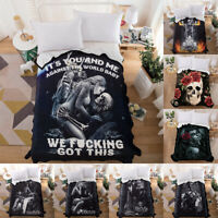 Skull Love Warm Blanket Super Soft Throw Rug Polyester Sofa Home Bedding Gothic