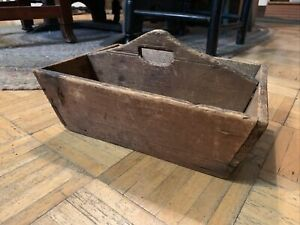 Mid 19th century Cutlery Tote Natural Surface Pine Wood Made From A Crate