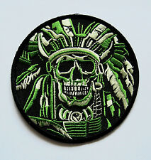Embroidered Patch, Skeleton Indian Chief, iron on, sew on