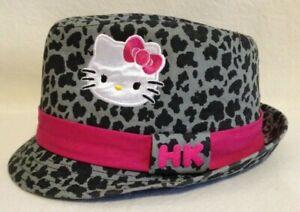Hello Kitty girls Fedora Black & Grey Leopard Print with Hot Pink trim by Sanrio