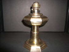 Antique Brass Finish over Spelter Oil Lamp Octagon Shaped & Signed