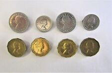 Lot of 8 Great Britain Coins Made Into Jewelry Pins ~ 3 Pence - Shilling