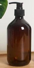 4pcs ~ 16 oz Amber Boston Round Pet Plastic Bottles W/ Pumps