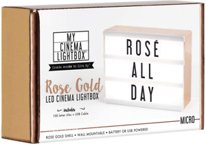 My Cinema Lightbox Rose Gold Light Box, Micro LED Marquee with 100 Letters, Numb