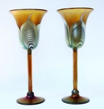 Correia Art Glass 2 Wine Glasses Hand Blown Goblet Stemware Feather Pulled 1979