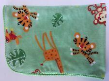 Fisher Price Green Animals Baby Blanket Giraffe Monkey Tiger