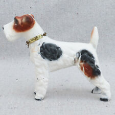 Vintage Kreiss Ceramic Airedale Wire Hair Fox Terrier Dog Figurine Metal Collar