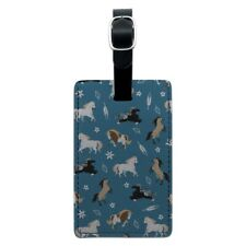 Frolicking Horses Pattern Rectangle Leather Luggage Card Carry-On ID Tag
