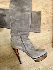 Le Silla Genuine Suede Over-the-knee boots Swarovski Crystals Size 40 (US 10)