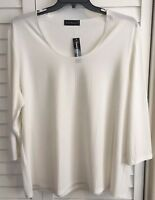 Travel Elements Woman's Plus Size 2X Ivory Long Sleeve Top NWT