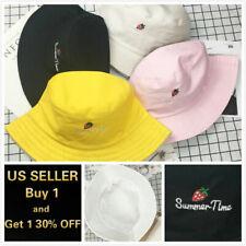 Strawberry Bucket Hat Cap Cotton Fishing Boonie Brim visor Sun Summer Camping