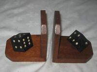 A Pair of Vintage Oak Right Angle Bookends with Cast Weighted Dice Decoration