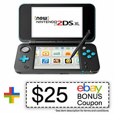 New Nintendo 2DS XL (Black + Turquoise) - REFURBISHED BY NINTENDO - Warranty Inc