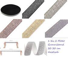 1-2 Meter elastisches Gummiband Lurex 20-30 mm gold silber schwarz grau elefant