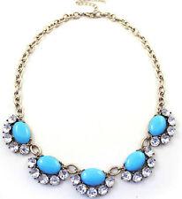 Fresh Elegant Retro Oval Resin Drop Rhinestone Flower Cluster Choker Necklace
