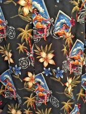Marc Edwards XXL Black Hawaiian Aloha Camp Shirt Motorcycle Mama Button Up