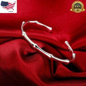Womens 925 Sterling Silver Bamboo Cuff Adjustable Bangle Fashion Bracelet #B233