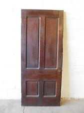 1800's Antique Wood Door Four Raised Panel Victorian Style Butternut Ornate