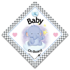 Baby Elephant On Board Car Sign, Elephant Baby On Board Suction Cup Car Sign
