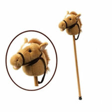 NEW Plush Soft Brown HOBBY HORSE on Stick With Sound - Clip Clop & Neigh! 90cm