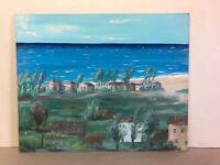 "Original Oil Painting On Board My Seascape Mtl. 1968 Landscape 20x16"""