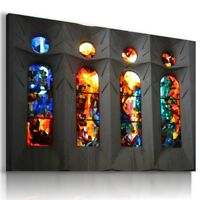 WINDOWS STAINED GLASS Abstract PRINT Canvas Wall Art Picture AB581 MATAGA