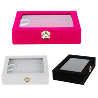 Velvet Glass Ring Earring Jewelry Display Organizer Box Tray Holder Storage C R5