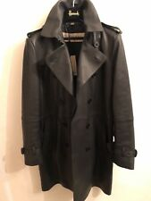 BURBERRY Leather Trench Coat Size 46