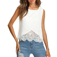 Women Chiffon Lace Vest Top Sleeveless Fashion Tank Blouse Summer Tops T-Shirt