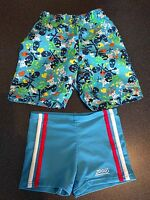 2 pairs boys Zoggs swimming trunks shorts age 3-4 years *excellent condition*
