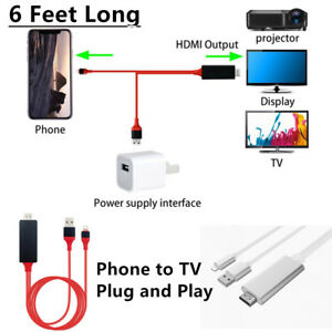 6 Feet 1080p HDMI HDTV AV Adapter Cable Cord For iPhone 5/6/7/8/X/Xs