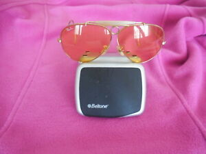 Vintage Ray Ban Bausch & Lomb Aviator Wire Wrap-around Sunglasses Yellow Lens