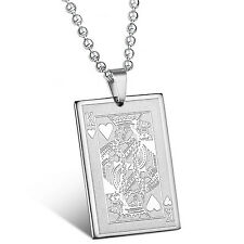 MENDINO Men's Stainless Steel Pendant Necklace King of Hearts Poker Playing Card