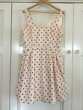 Forever New Size 16 Ladies Tea Dress Peach With Black Polka Dots Retro Vintage