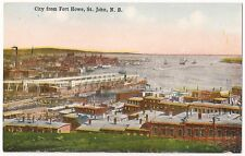 ST. JOHN NEW BRUNSWICK CANADA CITY FROM FORT HOWE ANTIQUE VINTAGE POSTCARD