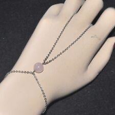 Chaîne de main bracelet bague original acier inoxydable pierre Quartz Rose bijou
