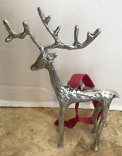 Pottery Barn SCULPTED REINDEER Silver ORNAMENT New with Tags