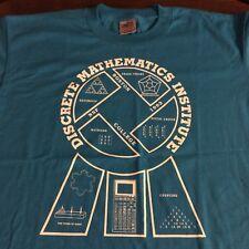 Discrete Mathematics Institute VINTAGE 50/50 T-Shirt L LARGE Bright Blue Binary