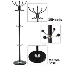 New 15 Hooks Coat Rack clothes Hat Holder Hanger Hall Stand Tree Black Metal