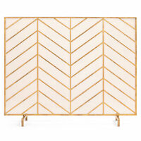 BCP 38x31in Single Panel Iron Chevron Fireplace Screen w/ Antique Copper Finish