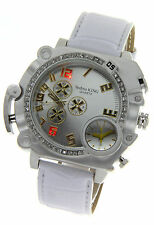 Dual Time Jumbo Techno King Rodeo Bling Fashion HipHop Mens Watch W/ CZ Crystals