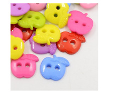 100 Acrylic Apple Sewing Buttons, Plastic Buttons,  Craft Scrapbooking Sewing