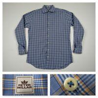 Peter Millar Mens Blue Plaid Casual Button Front Long Sleeve Shirt Medium